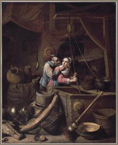 Stalinterieur met een oude boer die een jonge vrouw lastig valt