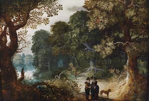 Elegant paar in een bos
