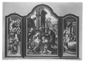 De annunciatie (binnenzijde linkerluik), de aanbidding van de Wijzen (middenpaneel), de presentatie (binnenzijde rechterluik)