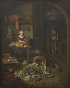 Keukeninterieur met keukenmeid