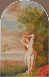 Kunstkastje beschilderd met taferelen uit de klassiek mythologie: Andromeda door Perseus van het zeemonster gered (Ovidius Metamorfosen IV:663-789)