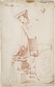 Jonge tekenaar in atelier en man leunend naar links