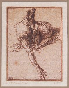 Een kikvors zittend op munten, een bol vasthoudend: Avaritia