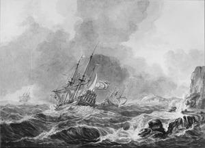 Drie schepen op woelige zee voor rotskust