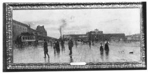 Ruines van het Tuilerieënpaleis met op de achtergrond de Arc de Triomphe du Carrousel