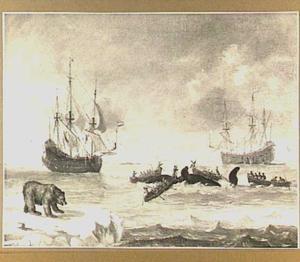 Walvisjacht op de pool met links op de voorgrond een beer op het ijs