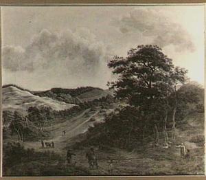Heuvellandschap met herders, wandelaars en een boerderij