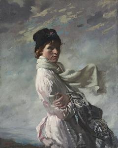 De vrouw van de kunstenaar in de baai van Dublin