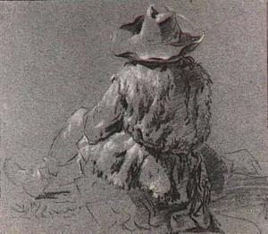 Zittende herder, op de rug gezien