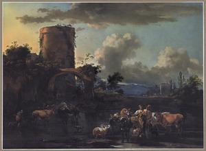 Zuidelijk landschap met herders en hun dieren bij een drenkplaats, bij avond
