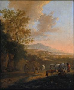 Italiaans landschap met een ossenkar