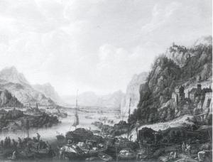 gezicht op de Rijn met een handelsplaats
