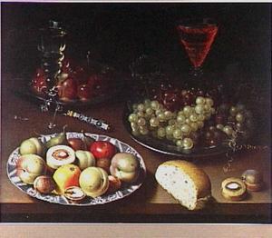 Stilleven met vruchten, wijnglazen en brood