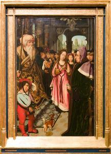 Het dispuut van de H. Catharina van Alexandrië met keizer Maximinus en de vijftig wijzen te Alexandrië (op de buitenzijde in grisaille: de H. Catharina)