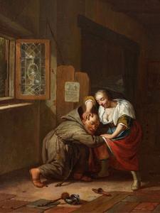 Monnik die een jonge vrouw belaagd: allegorie op de verleiding