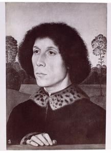 Portret van een man voor een landschap