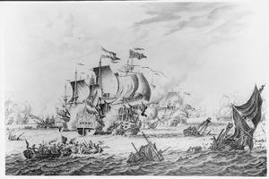 Zeegevecht tussen Nederlandse (de 'Overijssel'), Engelse en Franse oorlogsschepen; episode uit de Spaanse Successieoorlog (1702-1713)