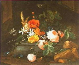 Bloemstilleven met hafedissen en een vlinder in een ruine