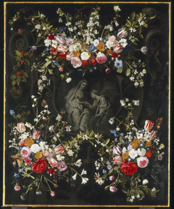 Bloemkrans met het mystieke huwelijk van de H. Catharina van Siena