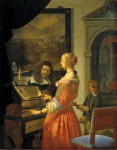 Vrouw aan een klavecimbel