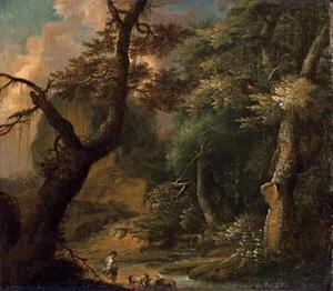 Boslandschap met geitenherderin