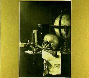 Vanitasstilleven met schedel en globe