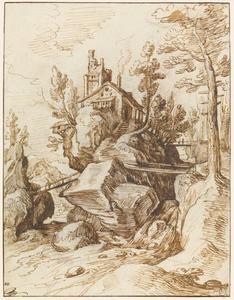 Huis op een rots in het midden van een stroom