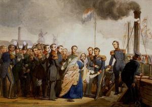 Het vertrek van Sophie van Oranje-Nassau (1824-1897) en Karel Alexander van Saksen-Weimar (1818-1901) van 's Rijkswerf te Rotterdam naar Weimar, 15 oktober 1842