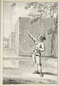 Illustratie voor 'De vogel op de kruk' in de Kleine gedichten voor kinderen door H. van Alphen