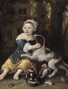 Portret van een onbekend meisje met drie honden