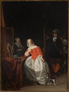 Jager en jonge vrouw voor haar kaptafel
