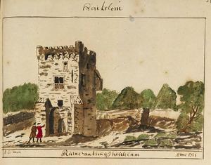 kasteel Heukelum na de verwoesting in 1672, vanuit het zuidwesten