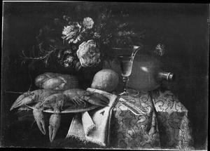 Stilleven van gedekte tafel met kreeft