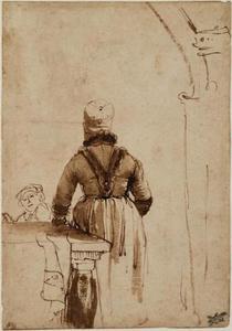 Vrouw in noordhollands kostuum, op de rug gezien (Geertje Dircx?)