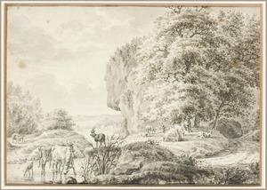 Bergachtig landschap met rustende herder en vee bij een doorwaadbare plaats