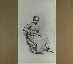 Zittende vrouw, leunend op haar rechterarm