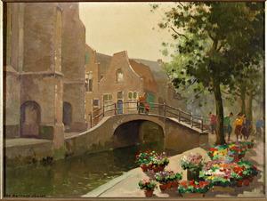Bloemenmarkt in de Vrouwenregt te Delft; links de Nieuwe Kerk