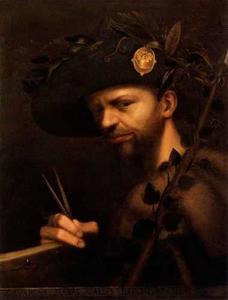 Zelfportret van Giovanni Paolo Lomazzo als hoofdman van de Accademia della Val di Blenio (of Blegno)