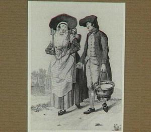 Gelderse boer en zijn vrouw na het melken