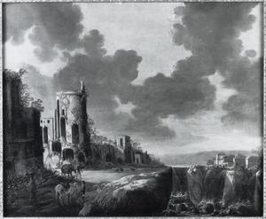 Zuidelijk landschap met ruïnes bij een waterval
