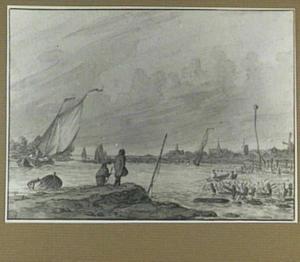 Rivierlandschap met figuren en schepen