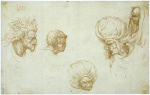 Studies van vijf koppen van mannen