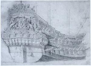 De boeg van het schip de 'Staten Generaal'