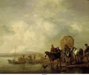 Rivierlandschap met hooiwagen en reizigers te paard