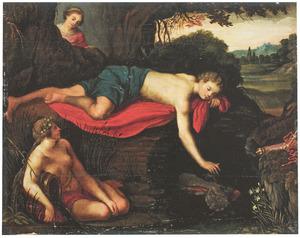 Narcissus , zich spiegelend in het water, wordt bespied door de nimf Echo