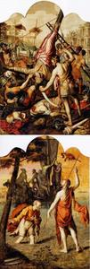 Tweezijdig schilderij met het martelaarschap van de HH. Petrus en Paulus en Christus loopt over het water