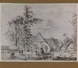 Landschap met boerderij en figuren