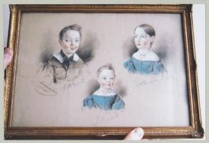 Portret van Jkvr. Johanna Adriana van der Does (1828-1855), Jhr. Gerrit Willem van der Does (1831-1890) en Jkvr. Jacoba Eliza van der Does (1833-1895)
