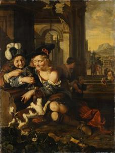 Twee jongens spelend met een kat in een klassieke ruïne