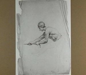 Studie van een naakte touwtrekkende man